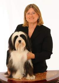 Lori Toth with black-and-white Tibetan Terrier named Parker